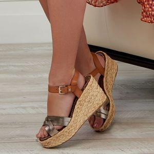 Sam Edelman Leather Espadrille Wedges 9.5